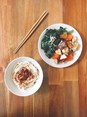 Spicy Vinegar Noodles with Stewed Veg and Greens